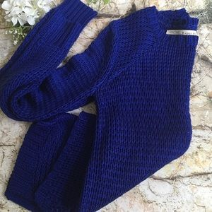 RACHEL ROY Royal Blue Open Knit LS Sweater,Size M